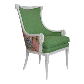 Epaulets and Pearls Pink and Green Upholstered Vintage Chair For Sale