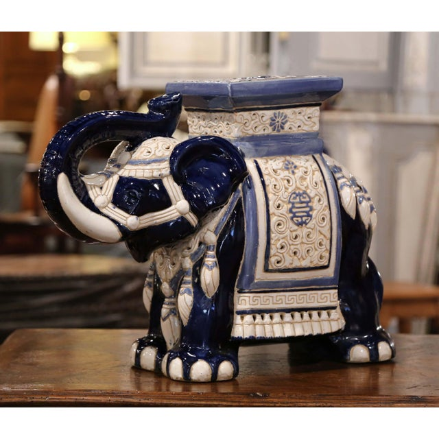 Mid-20th Century Hand Painted Faience Elephant Garden Seat For Sale - Image 9 of 9