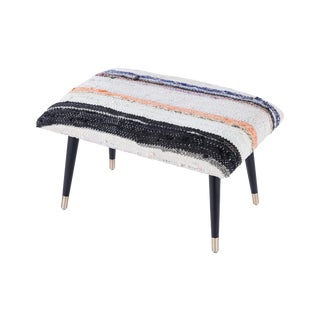 Pasargad Home Bosphorus Collection Black Kilim Cover Ottoman For Sale