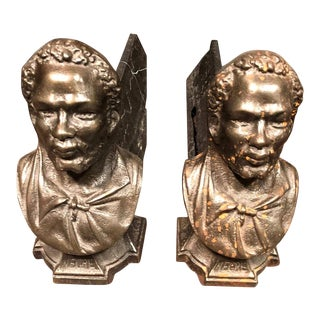Andirons Cast in the Likeness of Bearded Man - A Pair For Sale