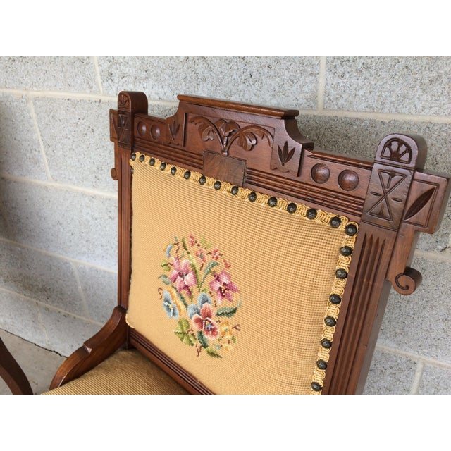 Textile Pair of Victorian Eastlake Needle Point His & Hers Accent Chairs For Sale - Image 7 of 11