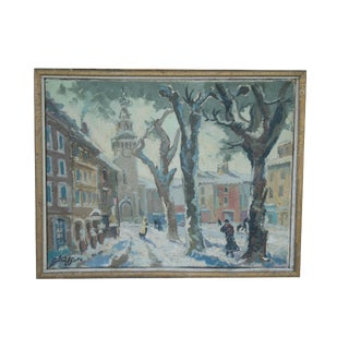 """1965 French """"Place De Carmes in Avignon"""" Oil Painting on Canvas Signed Clerge For Sale"""