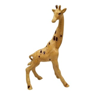 Vintage Drip Glaze Ceramic Giraffe Figurine For Sale