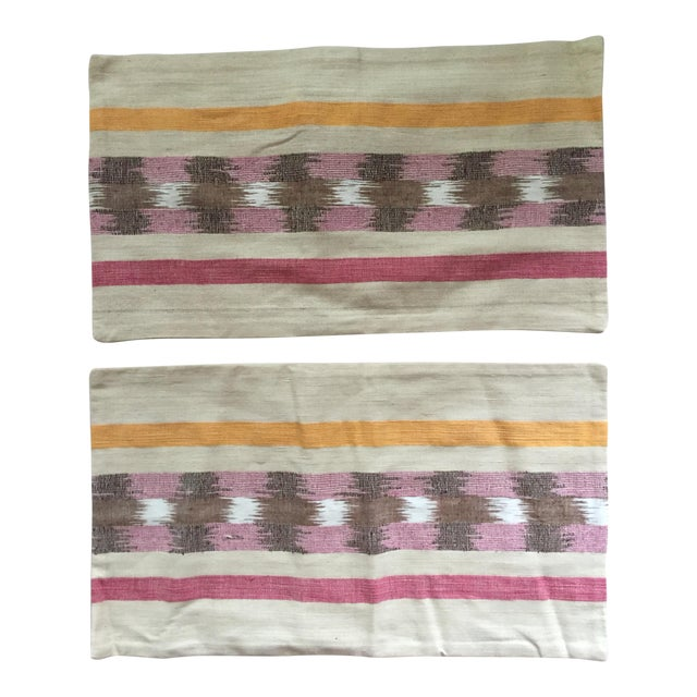 West Elm Ikat Pillow Covers - A Pair For Sale