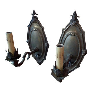 French Vintage Metal Single Light Sconces - a Pair For Sale
