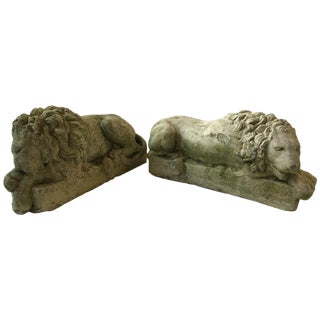 Pair of Small 1960s Concrete Lions For Sale