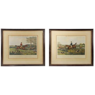 1851 Equestrian Hunt Scene Etchings - a Pair For Sale