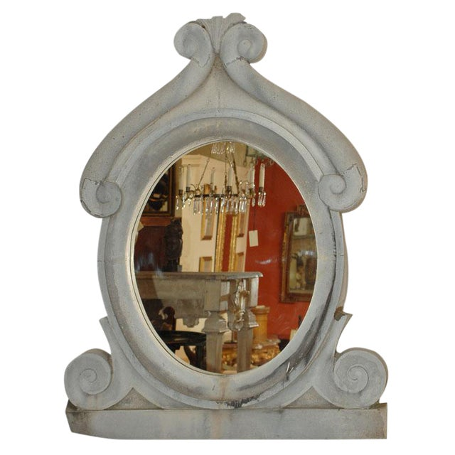 Large 19th Century Zinc Window Mirror For Sale