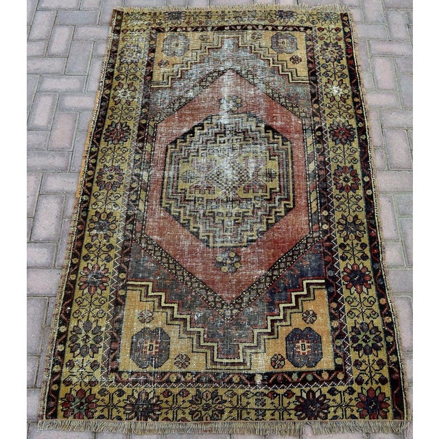 Antique Turkish Handmade Oushak Pile Rug 3′8″ × 5′11″ - Image 2 of 7