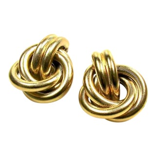 1980s Givenchy Golden Knot Earrings For Sale