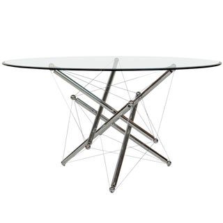 Italian Cassina Chrome and Glass Atomic Style Dining Table by Theodore Waddell For Sale