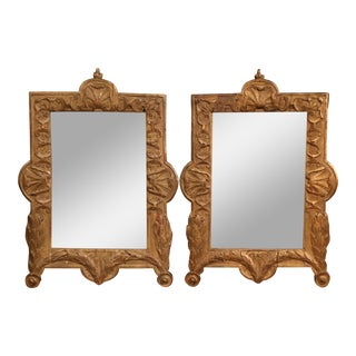 Pair of 18th Century French Carved Oak and Gilt Wall Mirrors With Mercury Glass For Sale