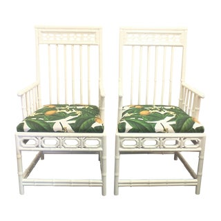 Chinese Chippendale Retro Lemon Chairs - Pair For Sale