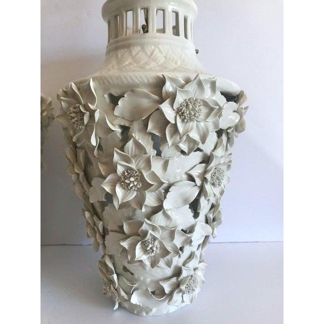 1960s 1960's Italian Blanc De Chine Floral Ceramic Pendant Lights For Sale - Image 5 of 13