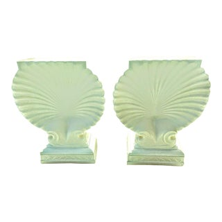 Pair Monumental White Palm Beach Regency Seashell Table Bases Console or Dining Room Grosfeld House Style For Sale