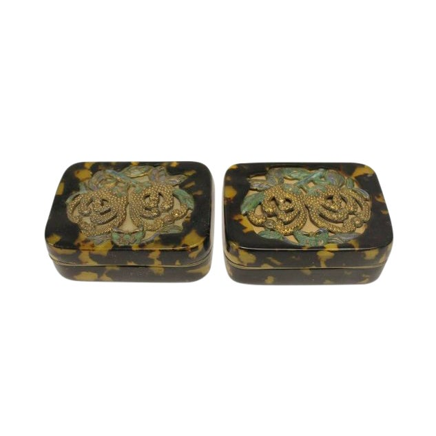 Antique Chinese Decorative Tortoise Shell Overlay Boxes- A Pair For Sale