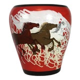Image of Hand Painted Ceramic Vase For Sale