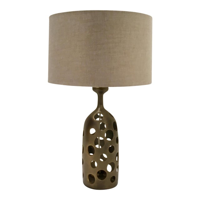 Arteriors Modern Antique Brass Pierce Table Lamp With Shade For Sale