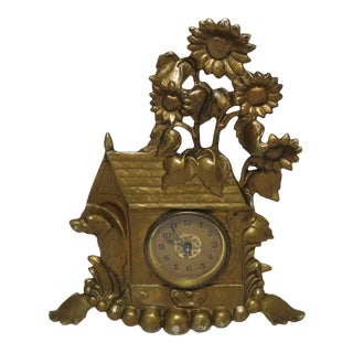 Antique Cast Iron Dog House & Sunflowers Wind Up Clock For Sale