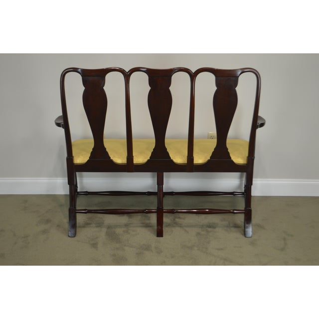 Gold Queen Anne Custom Mahogany Triple Back Settee For Sale - Image 8 of 13