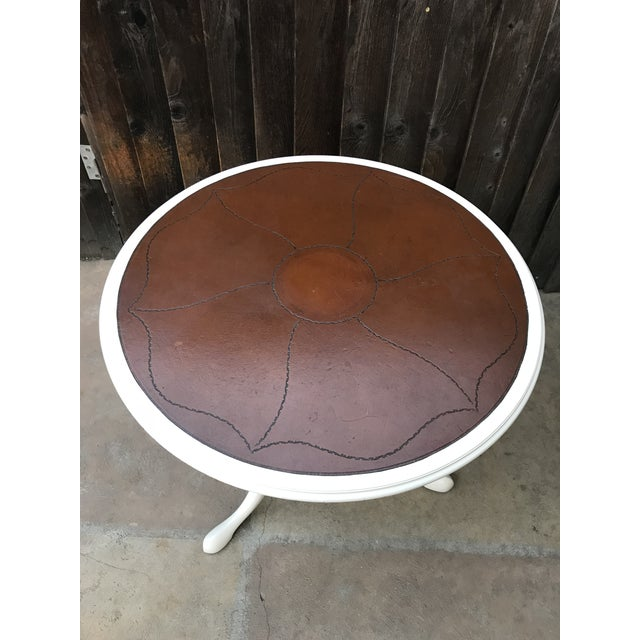 French Provincial Leather Top Pedestal Table For Sale - Image 3 of 8