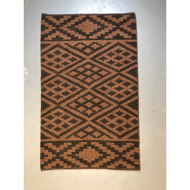 Asian Heavy Knit Brown and Tan Geometric Rug For Sale - Image 3 of 13