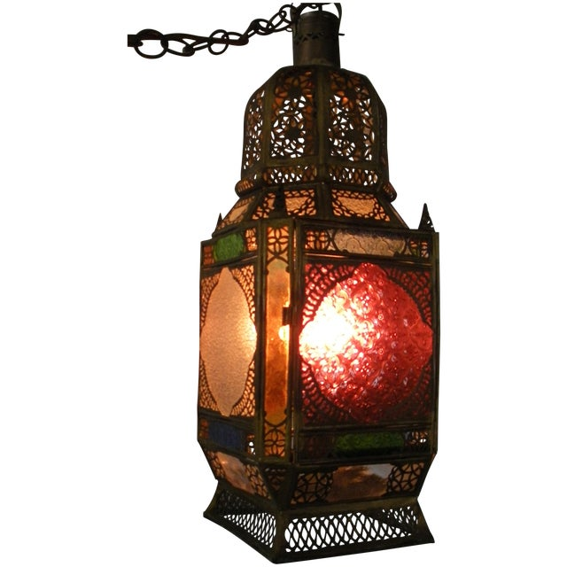 Moroccan Pierced Brass Hanging Lantern For Sale