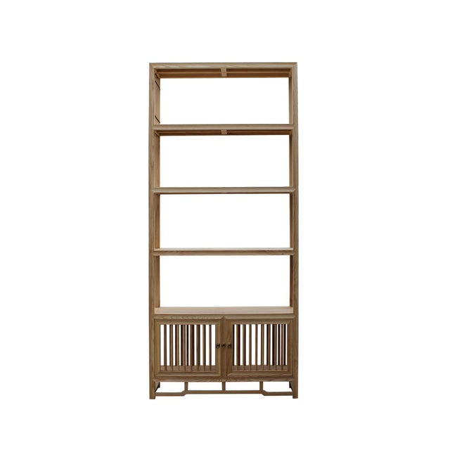 Brown Light Natural Raw Wood Shutter Doors Minimalist Bookcase Display Cabinet For Sale - Image 8 of 8