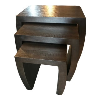 Contemporary Crocodile or Alligator Embossed Nesting Tables - Set of 3 For Sale