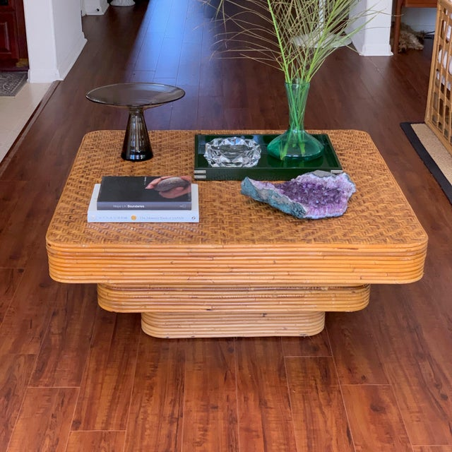 Mid-Century Modern Mid-Century Pencil Reed Stacked Rattan Coffee Table For Sale - Image 3 of 10
