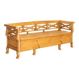 Antique Pine Swedish Maid's Bench Storage Bench For Sale