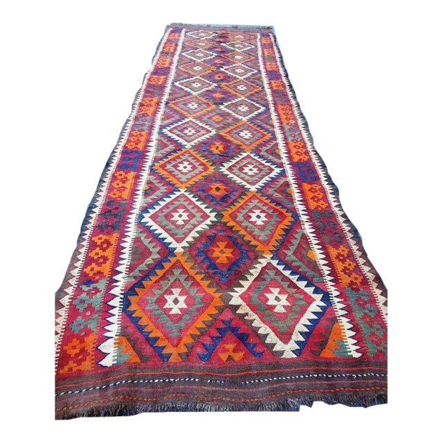 Vintage Handwoven Caucasian Kilim Rug - 5′ × 16'′ For Sale