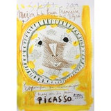"""Image of """"Yellow Face"""" Framed Picasso Poster Painting by Sean Kratzert For Sale"""