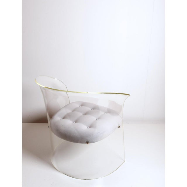 1960s Formed Lucite Chair With Tufted Seat, Pair Available For Sale - Image 4 of 12