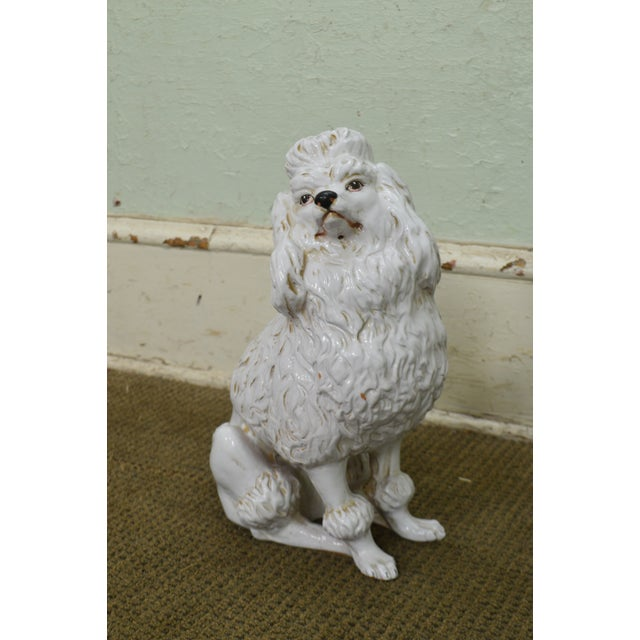 Traditional Italian Pottery Vintage White Ceramic Poodle Dog Statue (A) For Sale - Image 3 of 13