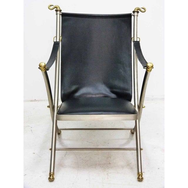 Jansen Style Leather & Brass Campaign Chair - Image 2 of 10