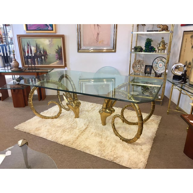 1970s Solid Brass Vintage Ibex Dining Table For Sale - Image 5 of 14