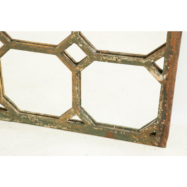 French Mid 19th Century Antique Cast Iron Geometric Mirror For Sale - Image 3 of 7