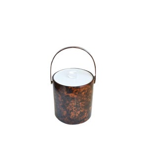 Vintage Faux Tortoise Shell Bucket Brigade Ice Bucket For Sale