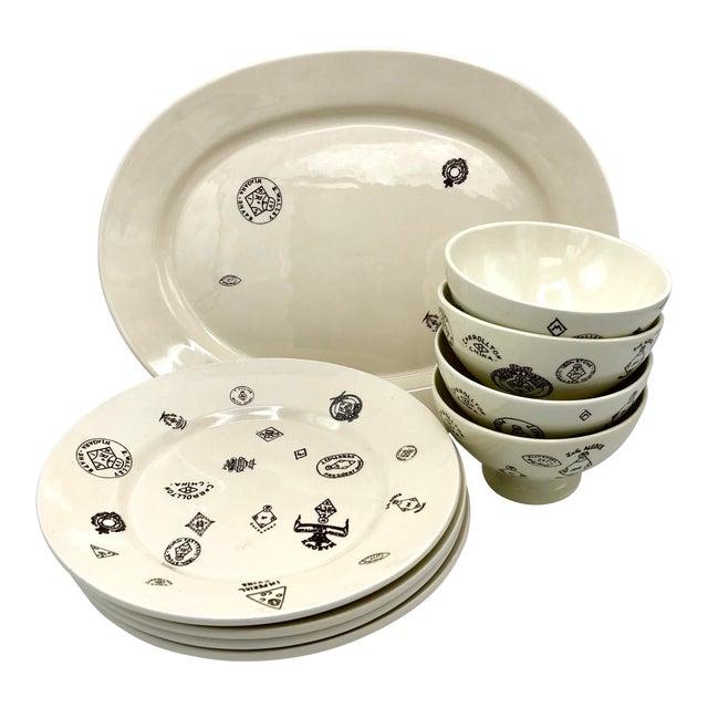 Sir/Madam Maker's Mark Themed Tableware - 4 Bowls, 4 Dinner Plates, 1Platter -- Set of 9 For Sale