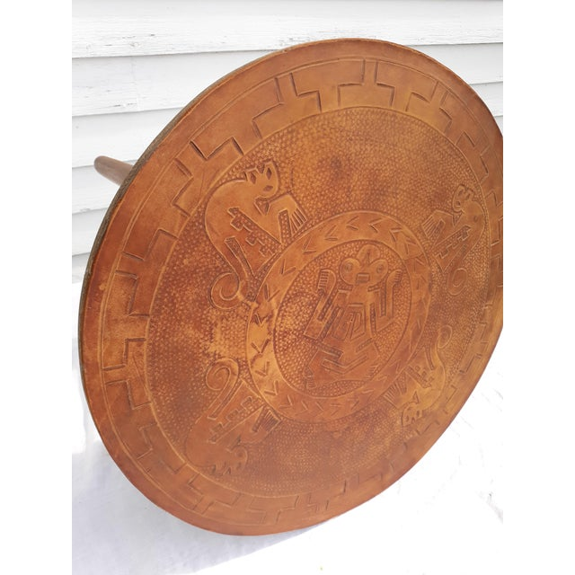 1960s 1960s Mid-Century Modern Angel Pazmino, Ecuador, Leather and Wood Table For Sale - Image 5 of 12