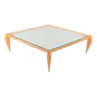 Square Glass Top Coffee Table by Brueton For Sale