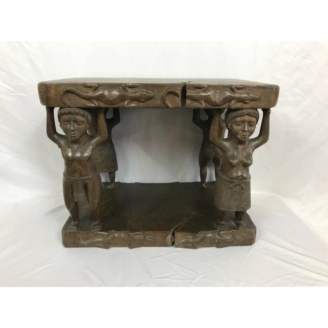 Figurative 20th Century Tribal Single Log Carved Stool For Sale - Image 3 of 9
