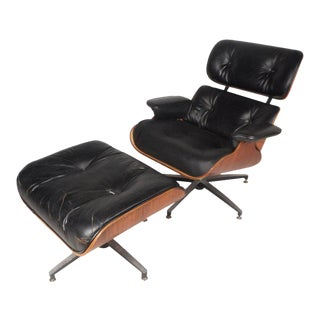 Vintage Modern Eames Style Lounge Chair and Ottoman