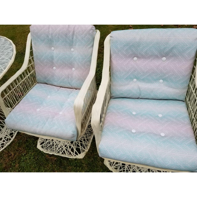 Russell Woodard Spun Swivel Fiberglass Style Chair Table Patio Set 5 Pc For Sale - Image 9 of 11