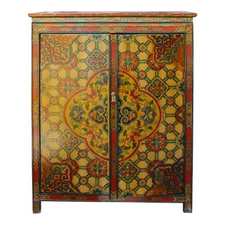 Chinese Tibetan Jewel Flower Graphic Credenza Storage Cabinet For Sale