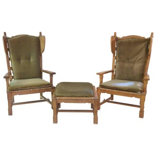 1950 Jacques Guillerme and Chambron, Set of Four Armchairs and One Stool For Sale