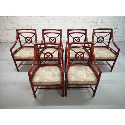 Set of 6 Italian Mid Century Red Bamboo Chippendale Lounge Dining Chairs For Sale - Image 4 of 13