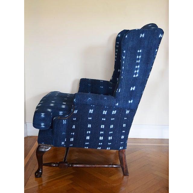 Indigo Mali Mudcloth Wingback Chair - Image 4 of 9