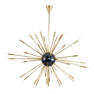 Nebula Chandelier Large in Black and Natural Brass For Sale